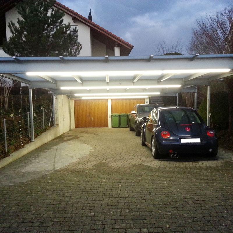 Neue Beleuchtung für einen Carport mit LED-Technologie